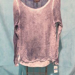 Inc mesh long sleeve blouse